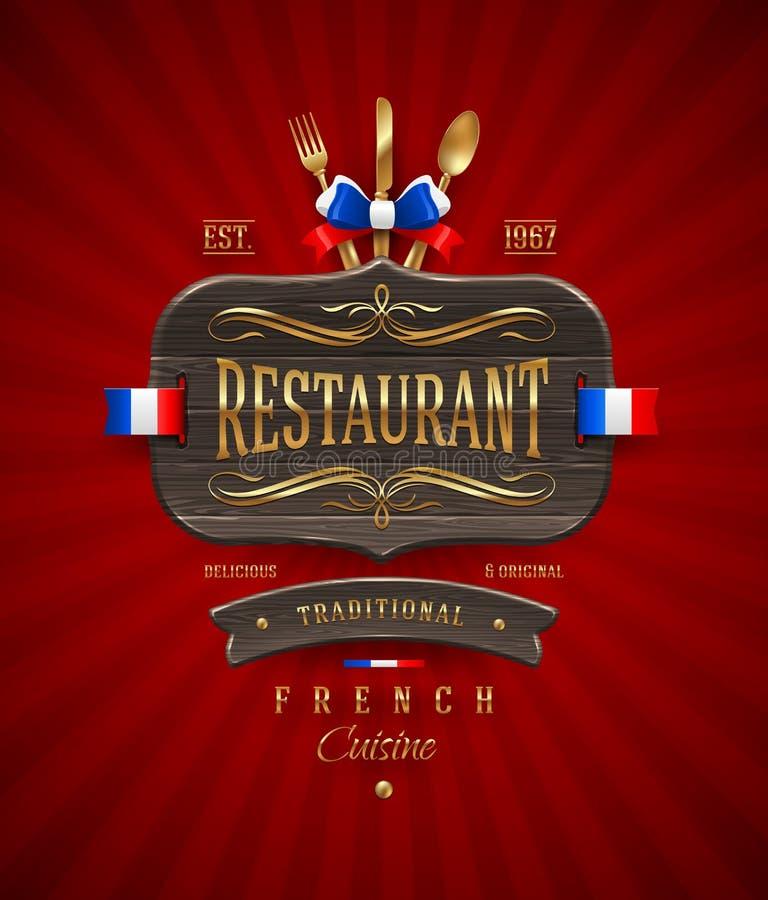 Sinal do restaurante francês com decoração dourada ilustração stock