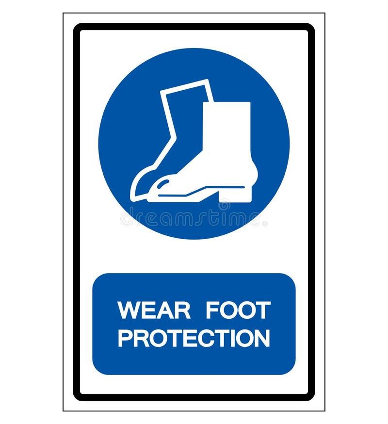 Sinal do símbolo da proteção do pé do desgaste, ilustração do vetor, isolada na etiqueta branca do fundo EPS10 ilustração do vetor
