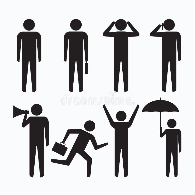 Sinal do símbolo dos ícones do homem de negócio dos povos ilustração stock