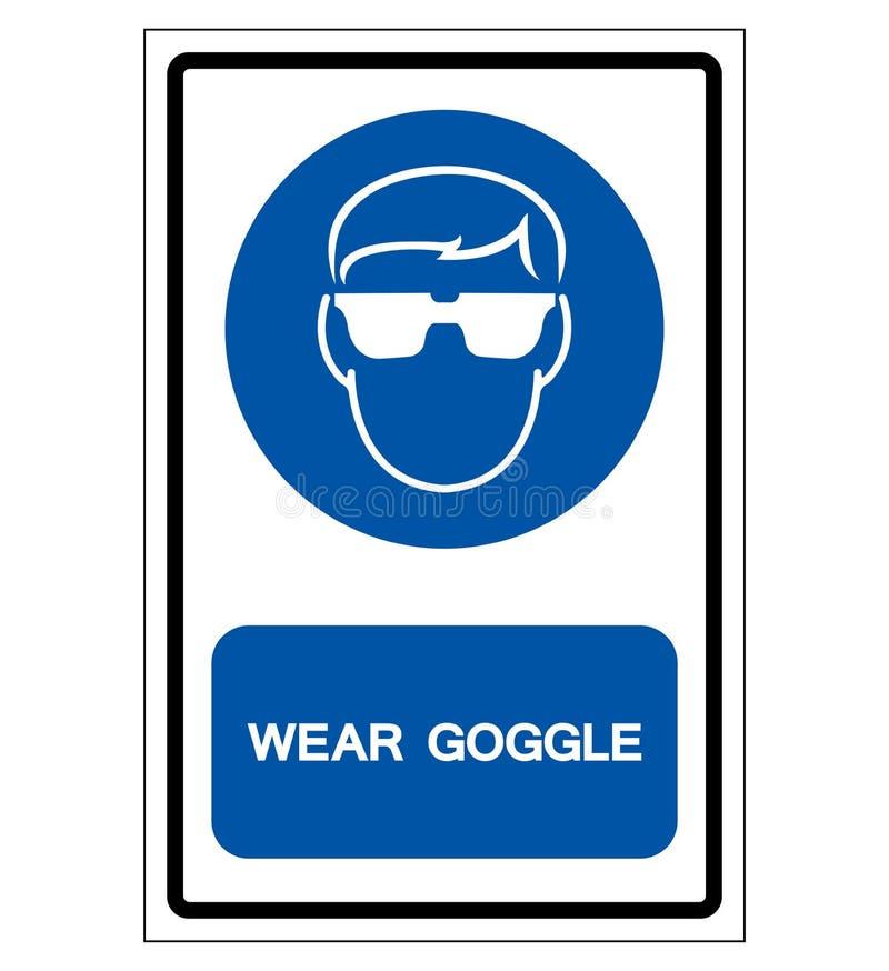 Sinal do símbolo dos óculos de proteção do desgaste, ilustração do vetor, isolado na etiqueta branca do fundo EPS10 ilustração stock