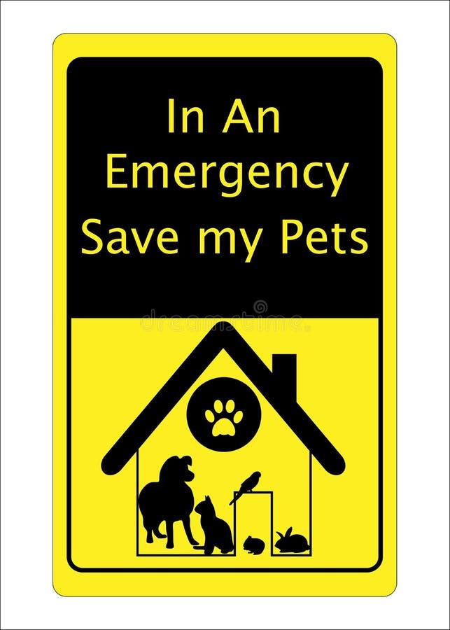 Sinal do salvamento do cão do gato dos animais de estimação ilustração royalty free