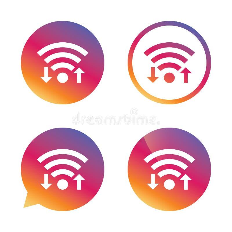 Sinal do sinal de Wifi Transferência de arquivo pela rede de Wi-Fi, símbolo da transferência ilustração stock