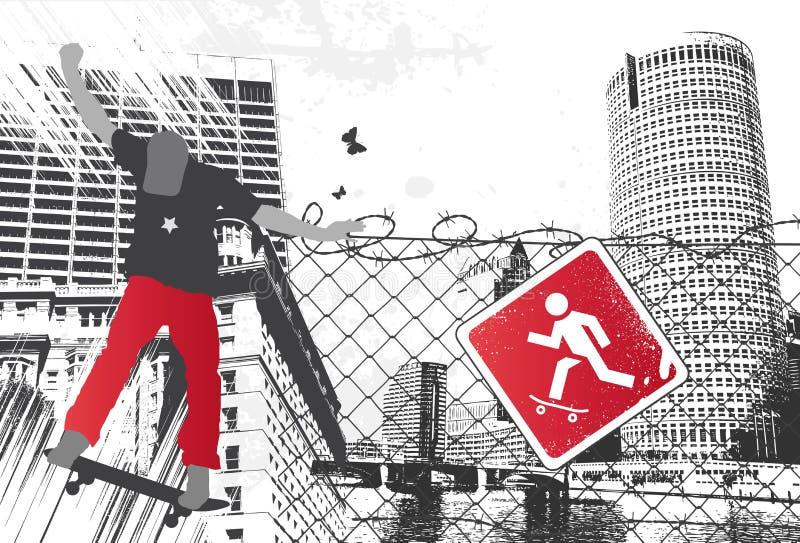 Sinal do skater da cidade ilustração royalty free