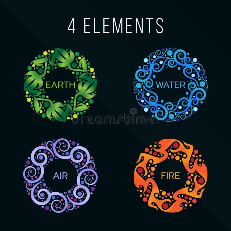 Sinal do sumário do círculo dos elementos da natureza 4 Água, fogo, terra, ar No fundo escuro ilustração do vetor