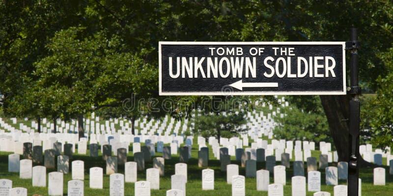 Sinal do túmulo do soldado desconhecido imagens de stock