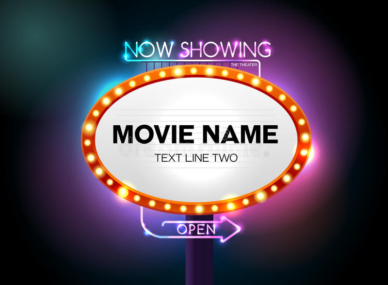 Sinal do teatro e luz de néon ilustração stock