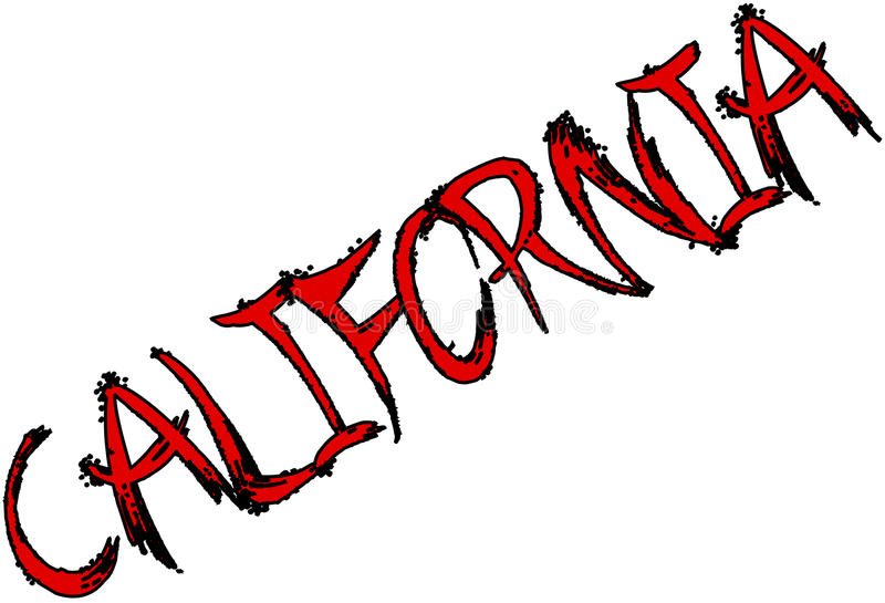 Sinal do texto de Califórnia ilustração royalty free