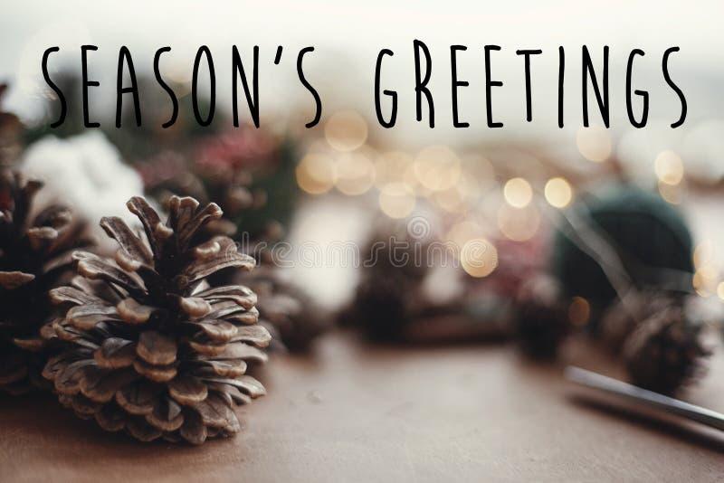 Sinal do texto dos cumprimentos da estação em cones do pinho no fundo da grinalda do Natal, luzes, ramos do abeto, bagas vermelha imagens de stock royalty free