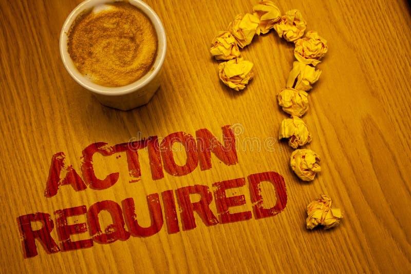 Sinal do texto que mostra a ação exigida A tarefa importante rápida imediata necessário do ato importante conceptual da foto expr imagem de stock