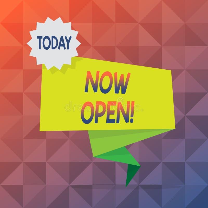 Sinal do texto que mostra agora aberto A porta ou as janelas conceptuais da licença da foto não fecharam-se ou barraram-se neste  ilustração stock