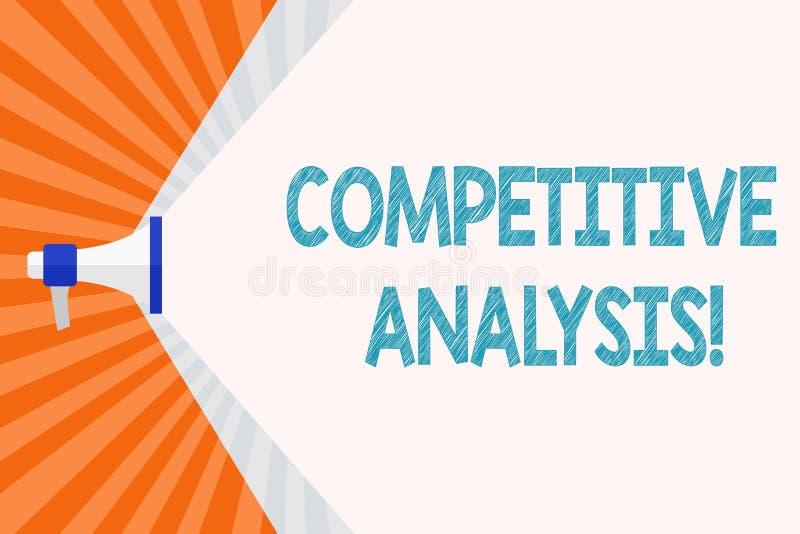 Sinal do texto que mostra a análise competitiva Técnica estratégica da foto conceptual usada para avaliar fora do concorrente ilustração do vetor