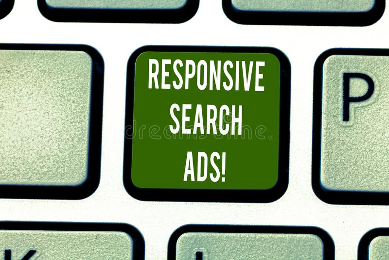 Sinal do texto que mostra anúncios responsivos da busca Foto conceptual para aumentar a probabilidade que seu anúncio mostra a ch imagens de stock royalty free