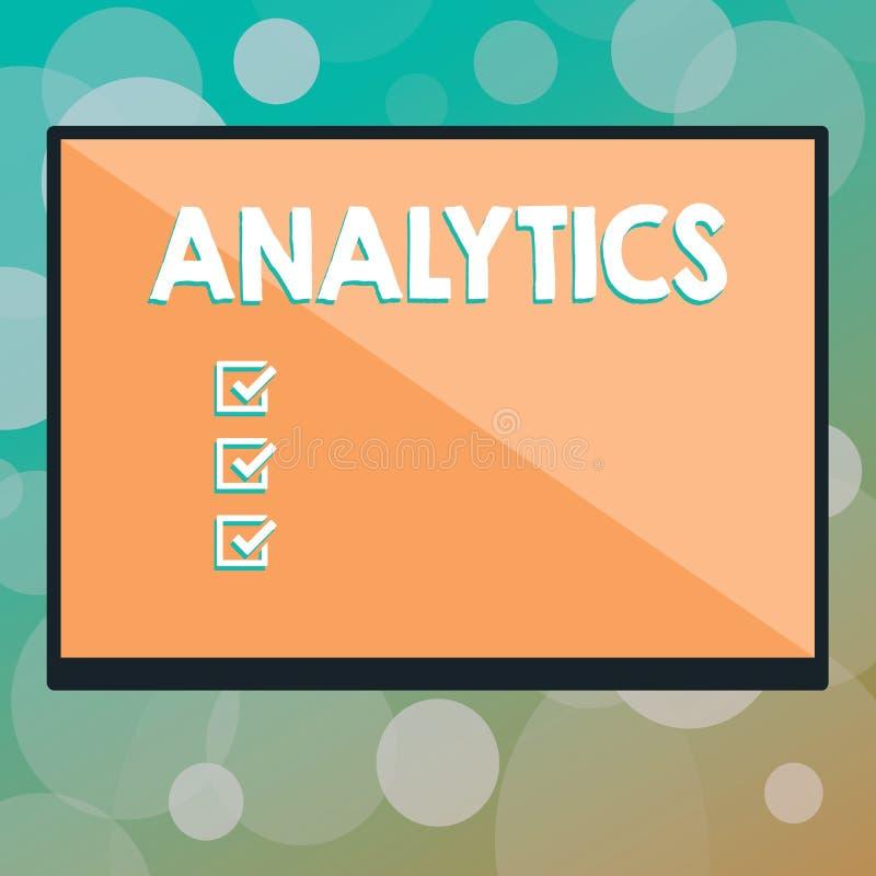 Sinal do texto que mostra a analítica Análise computacional sistemática da foto conceptual de estatísticas dos dados ou do formul ilustração do vetor