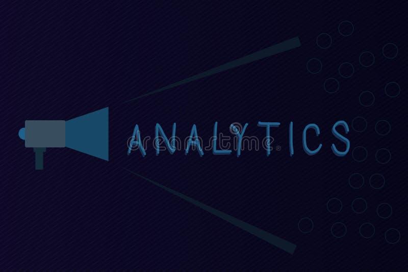 Sinal do texto que mostra a analítica Análise computacional sistemática da foto conceptual de estatísticas dos dados ou de megafo ilustração stock