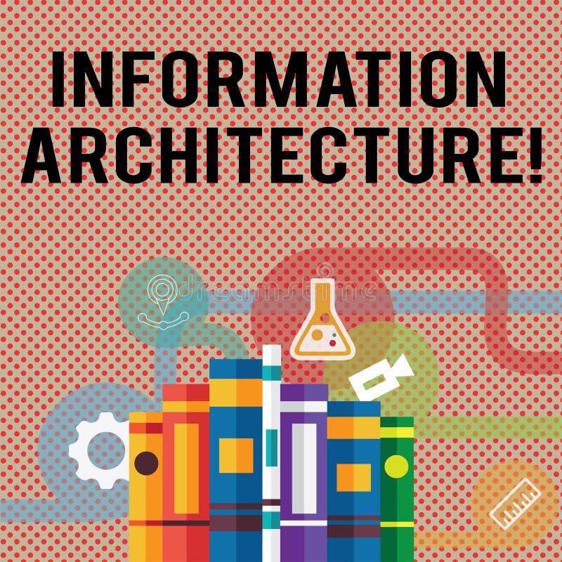 Sinal do texto que mostra a arquitetura da informação O projeto estrutural da foto conceptual compartilhou de livros dos ambiente ilustração royalty free