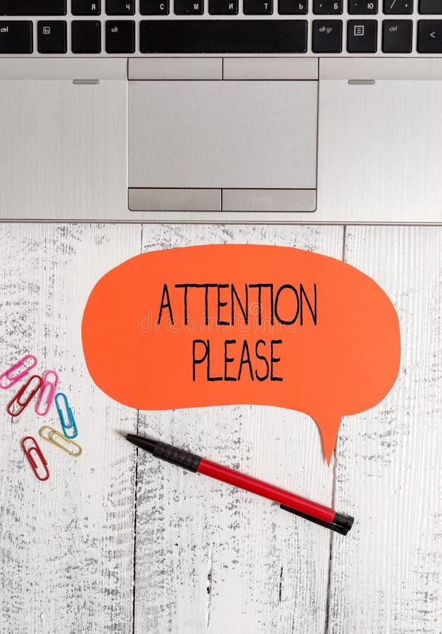Sinal do texto que mostra a aten??o por favor Foto conceptual que pede mostrar para focalizar seus poderes mentais em você portát imagens de stock