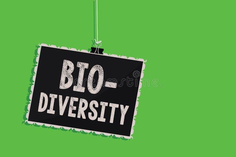 Sinal do texto que mostra a bio diversidade Variedade conceptual da foto de confusão do quadro-negro de Marine Fauna Ecosystem Ha ilustração stock