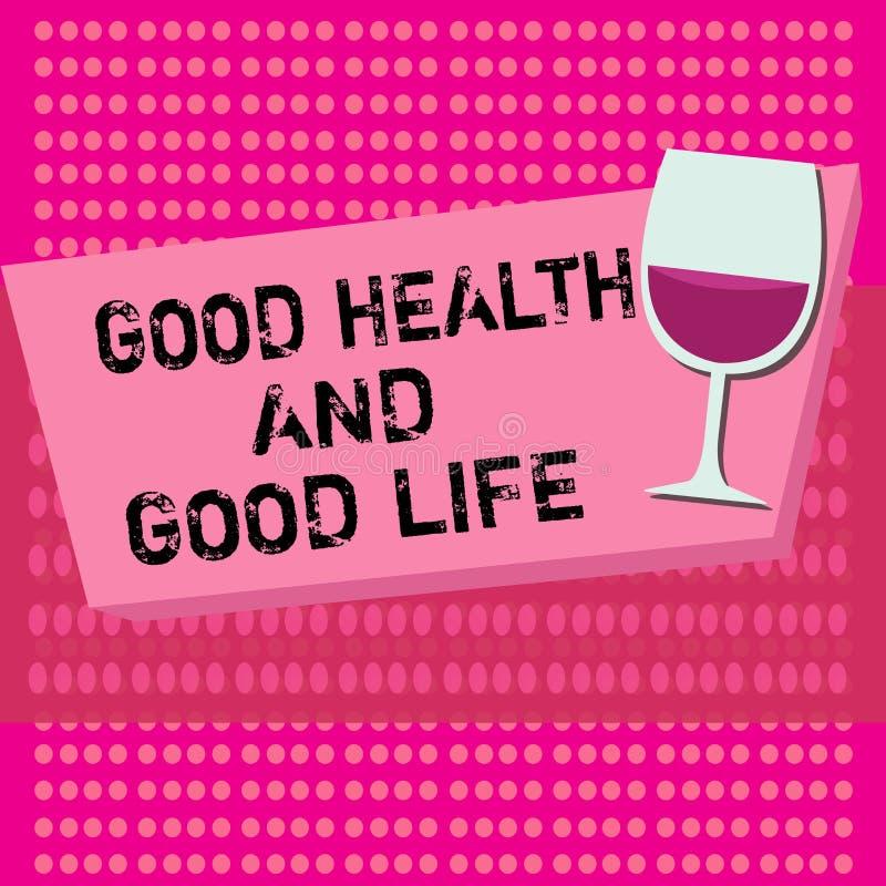 Sinal do texto que mostra a boa saúde e a boa vida A saúde conceptual da foto é um recurso para viver uma vida completa ilustração royalty free