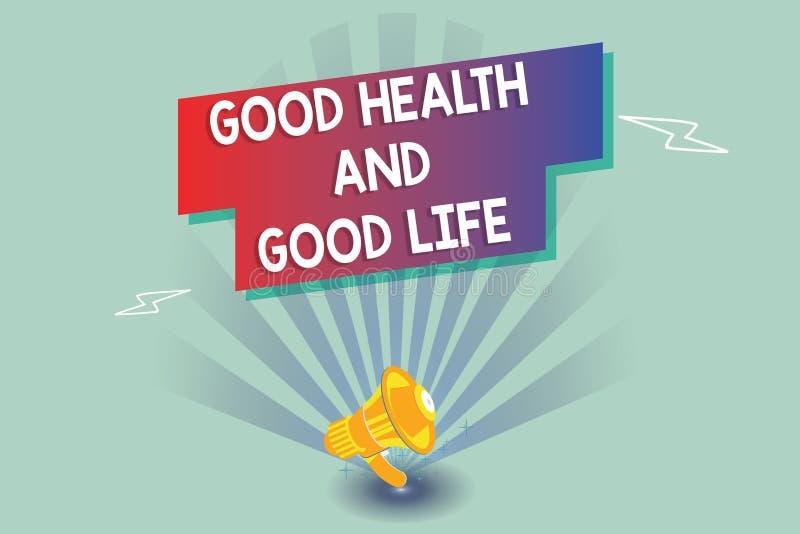 Sinal do texto que mostra a boa saúde e a boa vida A saúde conceptual da foto é um recurso para viver uma vida completa ilustração stock