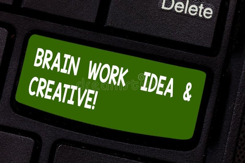 Sinal do texto que mostra Brain Work Idea And Creative Chave de teclado de pensamento inovativa do clique conceptual da faculdade foto de stock