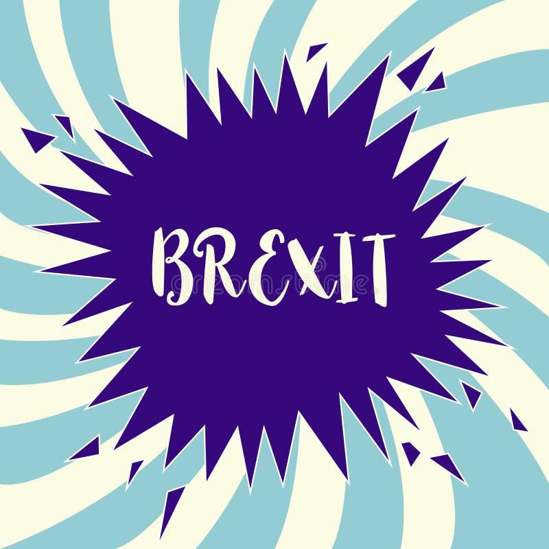 Sinal do texto que mostra Brexit Partida potencial do termo conceptual da foto de Reino Unido da União Europeia ilustração stock