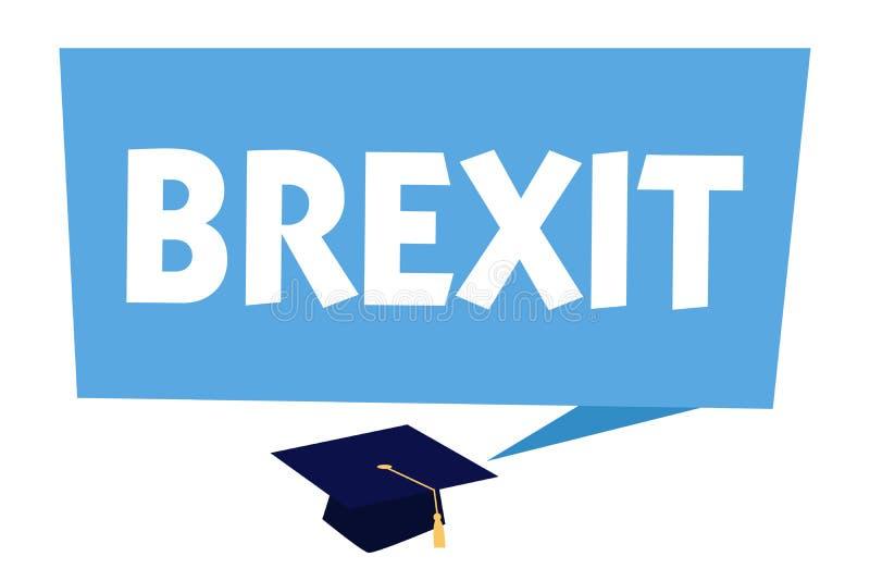 Sinal do texto que mostra Brexit Partida potencial do termo conceptual da foto de Reino Unido da União Europeia ilustração do vetor