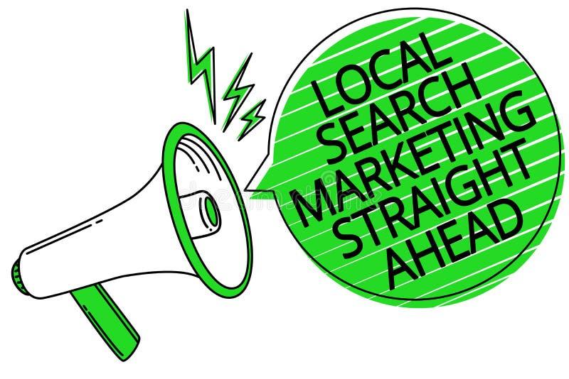 Sinal do texto que mostra a busca local que introduz no mercado a direito Foto conceptual que responde a alguém sobre o loudspe d ilustração stock