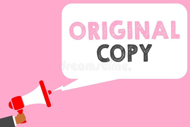 Sinal do texto que mostra a cópia original Homem patenteado marcado Unprinted da lista principal do roteiro principal conceptual  imagem de stock royalty free
