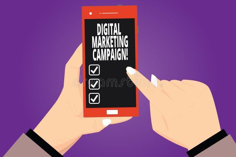 Sinal do texto que mostra a campanha de marketing de Digitas Esforço de mercado em linha da foto conceptual para anunciar a análi ilustração stock