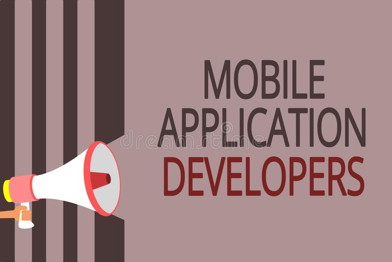 Sinal do texto que mostra colaboradores de aplicação móveis A foto conceptual cria o software para dispositivos como o altifalant ilustração do vetor