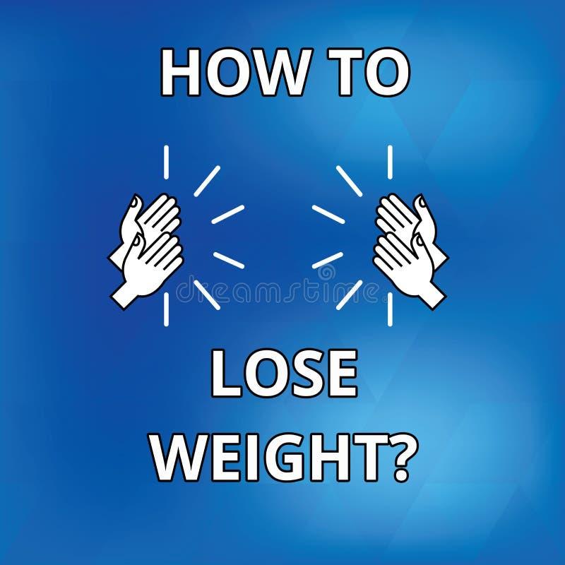Sinal do texto que mostra como perder Weightquestion Estratégias conceptuais da foto para obter a parada mais apta que é desenho  ilustração do vetor