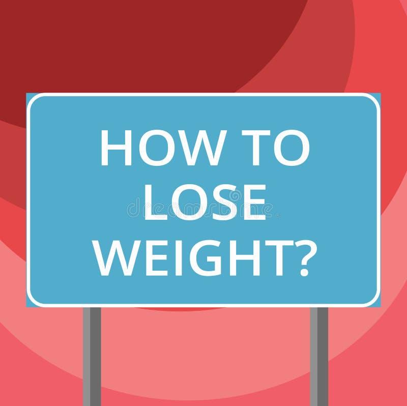 Sinal do texto que mostra como perder Weightquestion Estratégias conceptuais da foto para obter a parada mais apta que é placa go ilustração royalty free