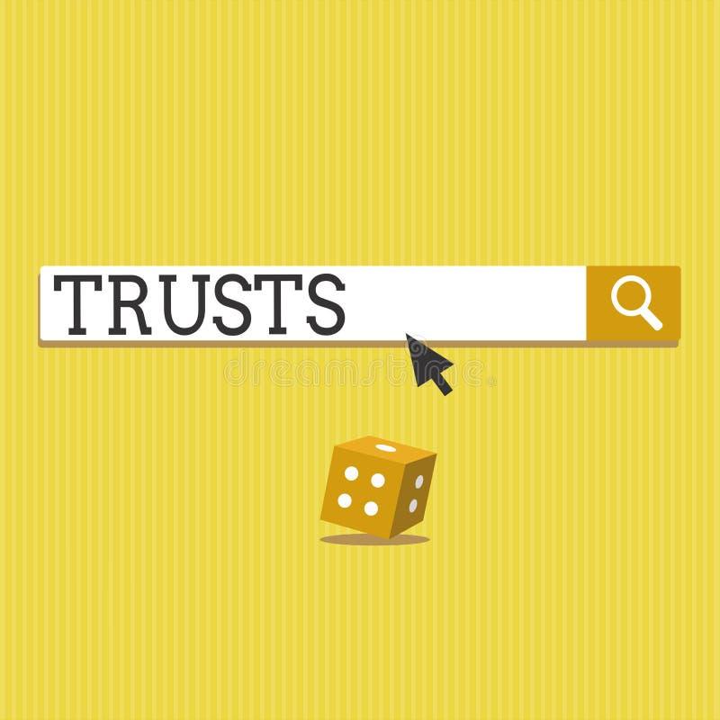 Sinal do texto que mostra confianças Opinião firme da foto conceptual na verdade da confiança ou capacidade de alguém ou de algo ilustração royalty free