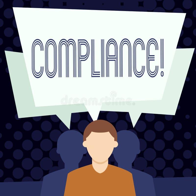 Sinal do texto que mostra a conformidade A foto conceptual Tecnologia Empresa ajusta seus regulamentos padrão da política ilustração royalty free