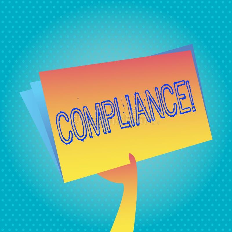 Sinal do texto que mostra a conformidade A foto conceptual Tecnologia Empresa ajusta seus regulamentos padrão da política ilustração do vetor