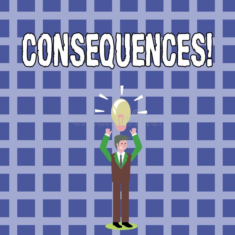 Sinal do texto que mostra consequências Conclusão conceptual da ramificação da dificuldade das consequências da saída do resultad ilustração stock