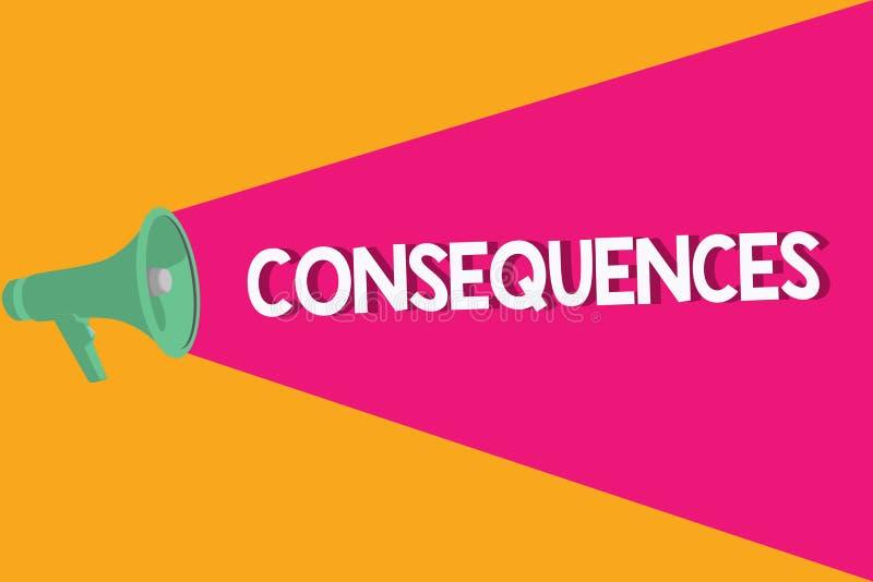 Sinal do texto que mostra consequências Resultado do efeito da foto ou resultado conceptual de algo ocorrência mais adiantada ilustração stock