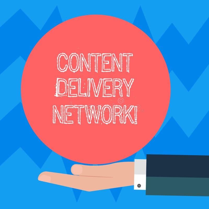 Sinal do texto que mostra Content Delivery Network A foto conceptual dispersou geograficamente a rede da mão da análise de Hu dos ilustração royalty free