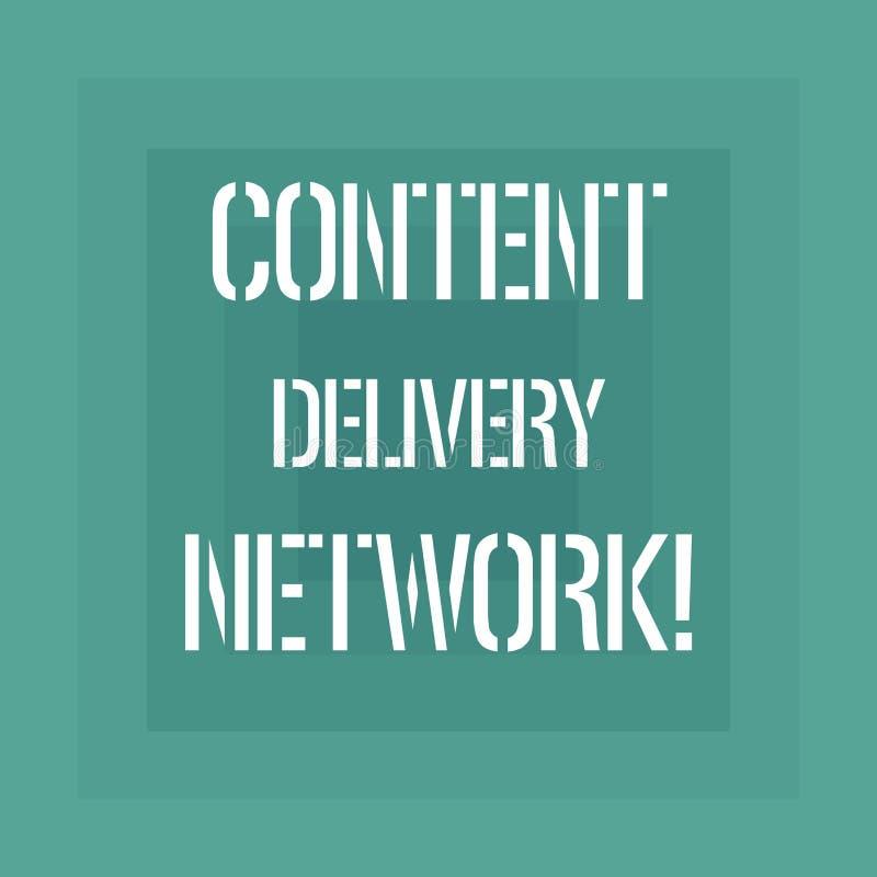 Sinal do texto que mostra Content Delivery Network A foto conceptual dispersou geograficamente a rede dos servidores proxy ilustração royalty free