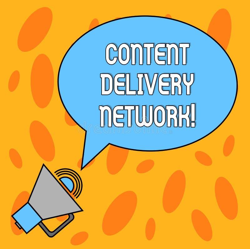 Sinal do texto que mostra Content Delivery Network A foto conceptual dispersou geograficamente a rede dos servidores proxy anula  ilustração royalty free