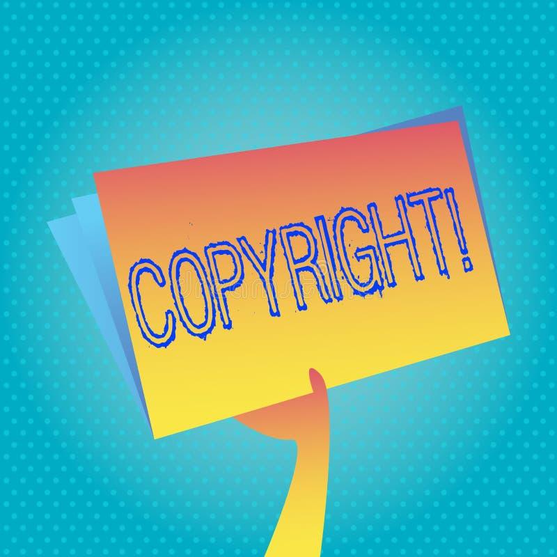 Sinal do texto que mostra Copyright Foto conceptual que diz não à pirataria da propriedade intelectual ilustração do vetor