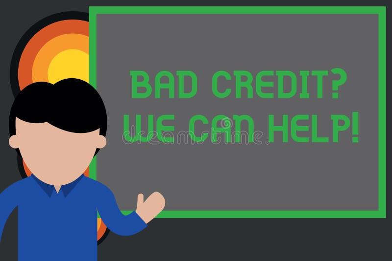 Sinal do texto que mostra Creditquestion que mau n?s podemos ajudar O offerr conceptual da foto ajuda a ganhar jovens positivos d ilustração stock