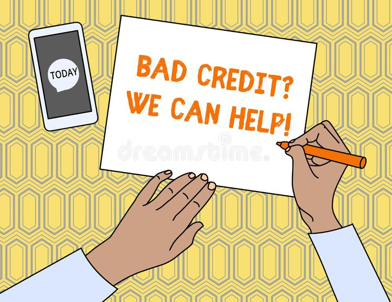 Sinal do texto que mostra Creditquestion que mau n?s podemos ajudar O offerr conceptual da foto ajuda a ganhar a opinião superior ilustração royalty free