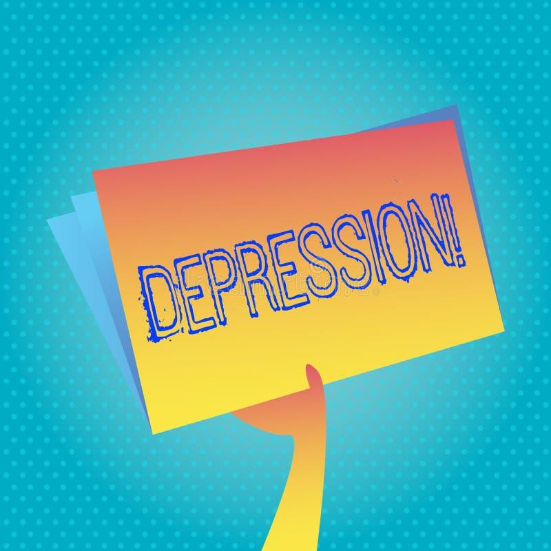 Sinal do texto que mostra a depressão Esforço de trabalho conceptual da foto com as noites sem sono que têm a perturbação da ansi ilustração stock