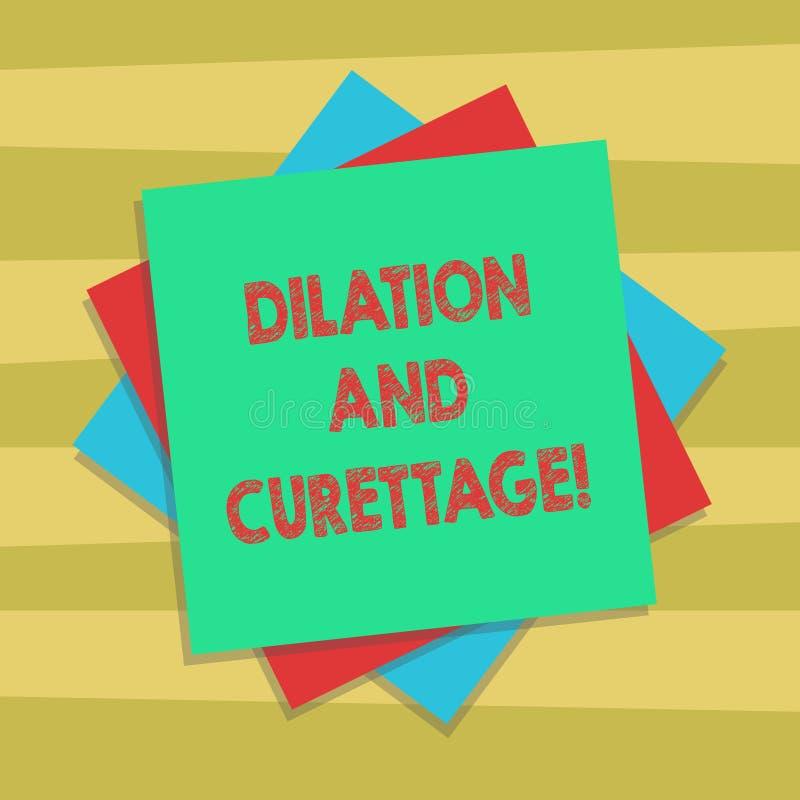Sinal do texto que mostra a dilatação e a curetagem Procedimento conceptual da foto para remover o tecido do interior de seu múlt ilustração do vetor