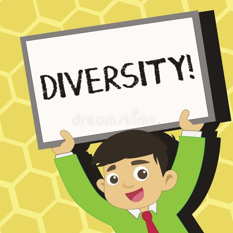Sinal do texto que mostra a diversidade Foto conceptual que está sendo composta de jovens multi-étnicos da variedade diversa dife ilustração stock