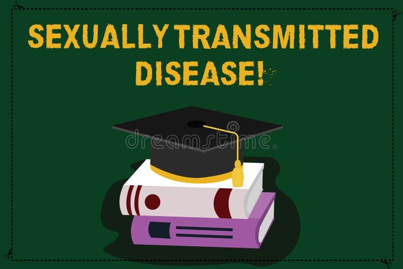 Sinal do texto que mostra a doença de transmissão sexual As doenças conceptuais da foto espalharam pela graduação da cor das rela ilustração stock