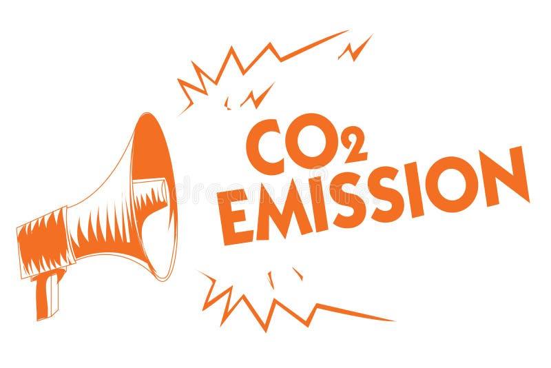 Sinal do texto que mostra a emissão de CO2 Liberação conceptual da foto dos gáses de estufa no megafone alaranjado da atmosfera a ilustração do vetor
