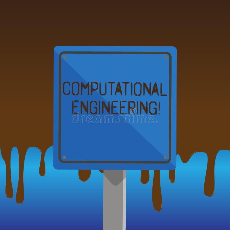 Sinal do texto que mostra a engenharia computacional Desenvolvimento conceptual da foto e quadrado computacional dos modelos 3D d ilustração royalty free