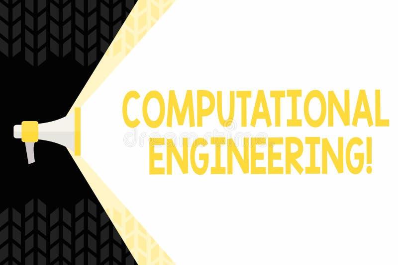 Sinal do texto que mostra a engenharia computacional Megafone computacional conceptual dos modelos do desenvolvimento e da aplica ilustração royalty free
